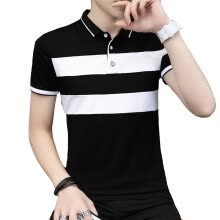 polos-DaMaiZhang Brand Men's Business Stripe Polo Casual tshirt Summer Slim Soft Tshirt High Qality Top Tee for Men on JD