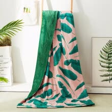 -Luxuly Plantain Blanket Cotton Fabric Blanket 200*230cm Bed Spread Quilt Green Throw Summer Tropical Blanket Queen for Bed on JD
