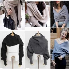 875061823-Women's Winter Warm Soft Knitting Wool Sweater with Scarves on JD