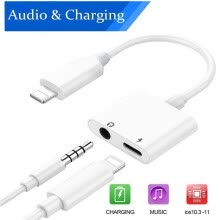 -Lightning to 3.5mm Adapter Headphone Jack Splitter Audio Cable For iPhone X ios 10.3 to 11.4 on JD