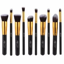 -Abody 10Pcs Professional Makeup Brush Kit Cosmetic Set Golden Ferrule Powder Eye Shadow Concealer Wood Brushes Black on JD