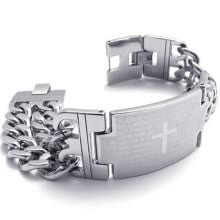 -Hpolw Men's Stainless Steel Cross Prayer Bangle Cuff Bracelet, Silver, 8.5 Inch on JD