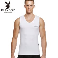 -Playboy Men's Tank Men's Sports Base Wide Shoulder V-Neck Shirt 7540 White XL on JD