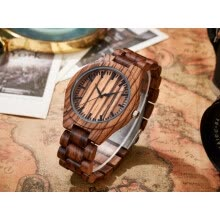-Fashion Unique Hollow Dial Wood Bracelet Watches Mens 2017 New Cool Men Clock Bamboo Brown Quartz Wristwatch Modern Relogio W071 on JD