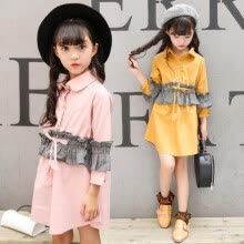 -2018 Spring and autumn children's clothing girls dress children's cotton shirt princess dress  Pink Yellow 3-13 years old on JD