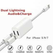 -Dual Charging + Adapter Jack Audio Cable for Apple iPhone X 7 8 Plus Lightning ios 10.3 to 11.4 on JD