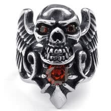 -Hpolw Mens High quality Punk Rock Gothic Big wings skull ring Stainless Steel Finger rubies Rings HIPHOP Fashion men's Jewelry on JD