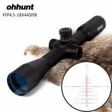 8750503-ohhunt FFP 4.5-18X44 SFIR First Focal Plane Hunting Optical Riflescopes Side Parallax R/G Glass Etched Reticle Lock Reset Scope on JD