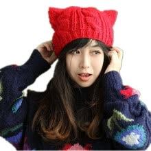 Women Winter Beanie Devil Horns Cat Ear Crochet Braided Knit Ski Wool Cap  Hat RED 10c91e237ee1