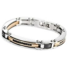 -Hpolw Men Stainless Steel 316L CZ Silver Gold Black Bracelet Link Biker (with Gift Bag) on JD