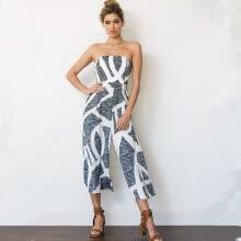9350dcdbd8d7 Summer 2018 Lady Strapless Off The Shoulder Backless Sleeveless Calf-length Pants  Print Beach Jumpsuits Women