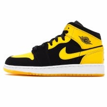check out 5c916 85ff9 Nike Air Jordan 1 Mid AJ1 Black Yellow Joe Men s Basketball Shoes Sneakers  Outdoor Non-slip Shoes