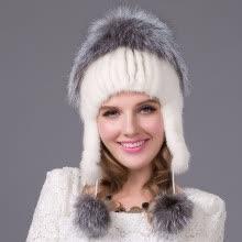 4bba22c1c6176 Mink Fur Hat Russian Winter Hat Women s Genuine Suede Fur Hat Silver Fox Fur  2018 Women s Fashion High-End Female Cap DHY-22