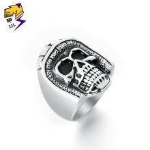 -Punk Motorcycle Helmet Skeleton Rings Men Vintage Silver Color Stainless Steel Steampunk Skull Biker Rings Women Jewelry on JD