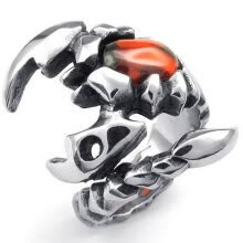 -Hpolw Mens Fashion silver&black Stainless steel Classic Retro Gothic Tribal scorpions orange/orangered crystal Ring on JD