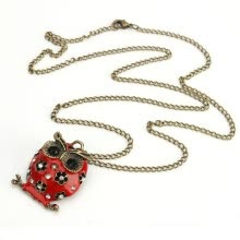 875062455-New Stylish Red Black Enamel Hollow Rhinestone Owl Shape Pendant Long Chain on JD