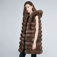 fur-Women's Coat Winter Fur Collar Natural Fur Fox Coat Can Change Length Long Leather Coat Hat 2018 New Stripe Fashion Discount on JD