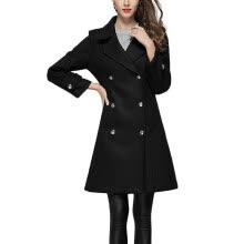 6eb3b6da4cfd9 2018 Style Elegant Black Long Woolen Coat Double Breasted Winter Long Wool  Coat Slim Women Cashmere Wool Jackets