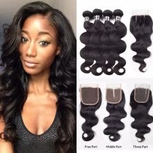 -Amazing Star Indian Virgin Hair Body Wave Bundles with Closure Body Wave Human Hair with 4x4 Closure Shedding Free and Tangle Free on JD