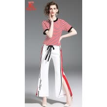 two-piece-suit-S M L XL XXL casual new summer 2018 women jumpsuit short sleeve two piece clothes set red and white striped t shirt ad pant on JD