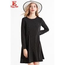 L XL XXL 3XL 4XL 5XL plus size office new autumn 2018 women dress long sleeve  big size black striped loose elegant midi OL lady f3a5d8541fb9