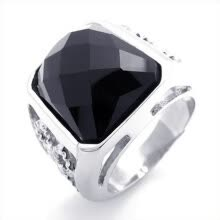 -Hpolw new style 925 sterling silver fine Fashion silver Hollow Unisex Engagement black crystal Ring on JD