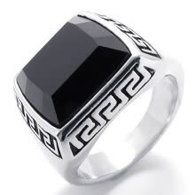 -Hpolw silver Stainless Steel Vintage Fashion Men Ring Jewelry Black Enamel black crystal Ring  on JD