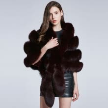 fur-Fox Fur Coat Shawl Women Winter Scarf Real Fur Jacket Furry Short Coat Horizontal Stripe Fox Fur Collar 2018 New Discount Warm on JD