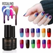 -ROSALIND Gel 1S Temperature Changing Nail Polish 7ml Soak off Nail Gel Polish Vernis Semi Permanent UV LED Glitter Nail Lacquer on JD