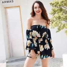 66eeb52b7ff6 TPEHA Women Slash Neck Floral Print Backless Horn Sleeve Summer Sexy Beach  Seaside Playsuits Bandage Jumpsuit Rompers