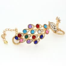 bracelets-bangles-Gold Tone Multicolor Peacock Chain Bracelet Free Postage 60078 Ladies Gifts on JD