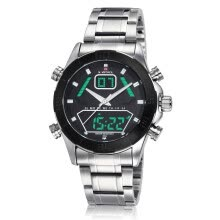 -NAVIFORCE 9022 Men  Brand Full Steel Quartz Hour Clock Analog wristwatches Digital LED Sports Military Watch on JD