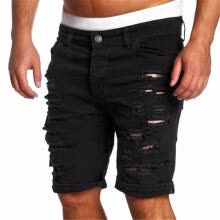 -Fashion Ripped Hole Denim Shorts Men Black White Slim Skinny Straight Casual Jeans Shorts Men Vintage Low Waist short homme on JD