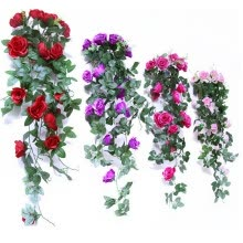 artificial-plants-Artificial flower white/red/brown/rose red/purple/pink rose wall hanging flower wedding decoration flowers on JD