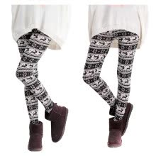 875061825-MyMei Winter Warm Xmas Stripe Snowflake&Reindeer Cotton Knitted Pants Trousers Legging on JD
