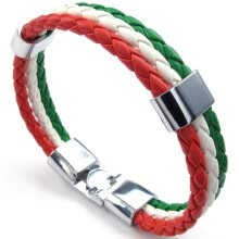 -Hpolw Mens Feather Bracelet, Italy Flag Italian Banner Cuff Bangle, Red White Green, 8' 8.5' 9' on JD
