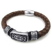 -Hpolw Mens Leather Stainless Steel Bracelet, Braided Charms Cuff Bangle, Magnetic Clasp, Brown  on JD
