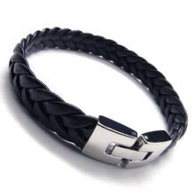 -Hpolw Men's Leather Bracelet, Stainless Steel Clasp, Black Silver, 9 Inch on JD