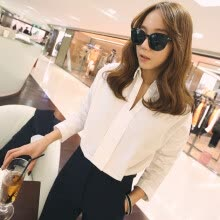 875061821-2016 spring new white shirt collar Korean female personality V bat sleeve loose Turtleneck Shirt woman on JD