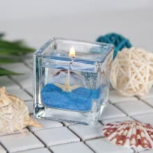 -Gong Xun romantic jelly candle birthday confession home creative layout seeking love wedding decoration candlelight dinner square ocean handmade candle blue ocean shell two gift box on JD