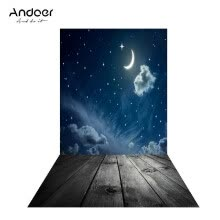 875072536-Andoer 1.5 * 0.9m4.9 * 3.0ft Backdrop Photography Background Twinkle Moon Star Wood Floor Picture for DSLR Camera on JD