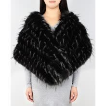 875062531-Fashion Black Faux Fur Shawl Women Formal Cheongsam Wedding Dress Scarf Soft Fox Lady Winter Warm Bride Cape on JD