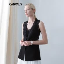 vests-CANVAUS Autumn New Women Black Vest  Lace Patchwork  OL One Button Wild  V-neck Sleeveless Tops Waistcoat CF8072D on JD