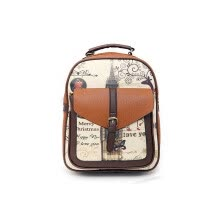 New fashion women leather backpack vintage printing shoulder bag for teenage girls school bags casual travel outdoor backpack student bag