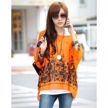 -Fashion Sexy Women's Bohemian O-neck Batwing Sleeve Loose-fitting Chiffon Casual Floral Blouse Shirt T-Shirt Tops on JD