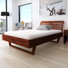 -Bed Frame Solid Acacia Wood Queen Size on JD