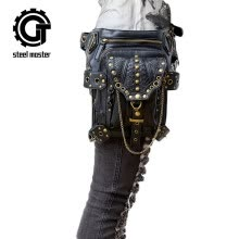 waist-packs-steel master Punk PU Leather Waist Bags Gothic Rivet Black Fanny Packs Steampunk Handbags for Men WomenWhat's in the box: on JD