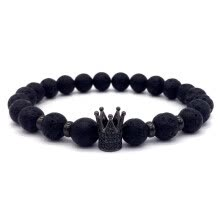 875062458-new fashion Hot Trendy Lava Stone Pave CZ Imperial Crown And Helmet Charm Bracelet For Men Or Women Bracelet Jewelry Pulseira homb on JD