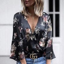 tanks-camis-Sexy Womens Long Sleeve Floral Vest T-Shirt Ladies Summer Tank Tops Blouse on JD