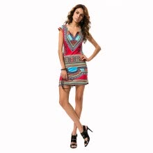 -Buenos Ninos Women Classic National Wind Printing Tight Dress Package Buttocks on JD